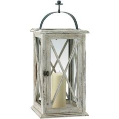 Linea French vintage wooden hurricane lantern