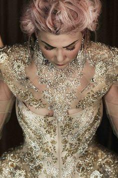dress/haljina: @Matija Vuica, shoes/cipele: Uterqüe, styling: #PetraNizetic, make up: #MihaelaDodić za #Illamasqua, hairstyle: #IvanaBilandzijaBilly, location/lokacija: atelier Matije Vuice, Zagreb, photo: #LukaNizetic, source/izvor: #modakomoda How To Make Clothes, High Collar, Corset, Feminine, Silhouette, Chain, Elegant, Lady, Royals