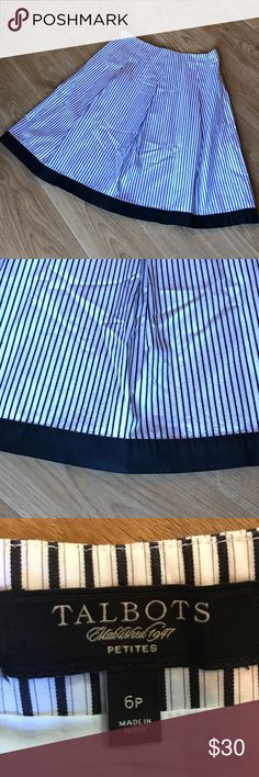 """Talbots 6P black/white stripe skirt 💯 cotton skirt with 💯 cotton lining. Beautiful blacks and white stripe skirt with a solid black hem. NWOT from a smoke free home. Waist:14"""" Length:24"""" this is a 6P but could work if your taller and like a little shorter skirt. 😘 Talbots Skirts A-Line or Full"""