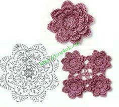 Crochetpedia: 2D Crochet Flowers Free Patterns Lots of flower patterns in symbol crochet here
