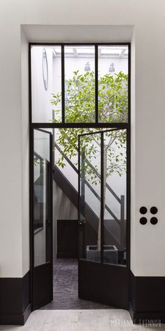 Metal and glass door