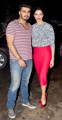 Arjun Kapoor with Deepika Padukone at special screening of 'Finding Fanny'.