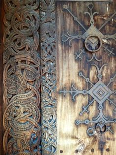 Detail of a door--wood and iron. Gol Stavkirke, Norway