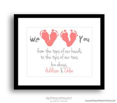 Mother's Day Gift from kids/grandchildren- We Love You Baby Footprint Art - Gift for New Mom, Grandmother $40.00