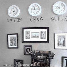 Home Decor, time zone clocks using vinyl lettering Home Living Room, Living Room Decor, Dining Room, House Of Chic, Time Zone Clocks, Style Marocain, Paris Rooms, Clock Decor, Clock Display