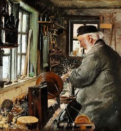 Laurits Andersen Ring (1854-1933): A turner at his lathe, 1890