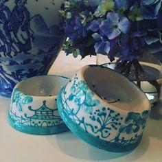 Chinoiserie Dog Bowl  MEDIUM Caribbean Blue by IndigoHome on Etsy