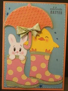 Handmade Easter card with umbrella, bunny, chick and rain boots. Super cute.