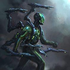 Arte Ninja, Arte Robot, Robot Art, Robot Concept Art, Armor Concept, Weapon Concept Art, Futuristic Armour, Futuristic Art, Arte Sci Fi