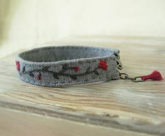 Pink and Grey Embroidered Bracelet by Sidereal on Etsy, $28.00
