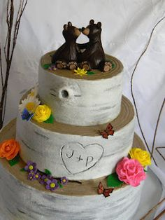 Birch tree wedding cake with grizzly bear toppers :)