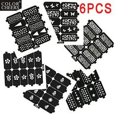 QINF 6X10PCS DIY Hollow Shape Manicure Nail Stickers Nail Art Manicure Template Image Stamp >>> Click on the image for additional details.