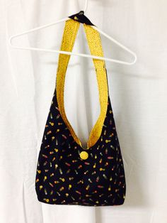 Handmade Cotton Hobo / Sling Bag / Purse Black & Gold on Etsy for $19.95