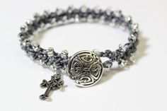 Celtic Bracelet Celtic Cross Pewter Button by OHineKnotwork Celtic Bracelet, Celtic Knot, Neutral Colors, Artisan Jewelry, Pewter, Glass Beads, Dangles, Buy And Sell, Charmed