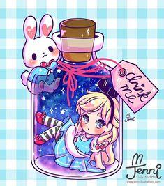 Alice in a bottle drink me . . . #aliceinwonderland #whiterabbit #magical #pastel #galaxy #jennilustrations