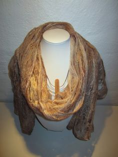 Cobweb felted scarf. Mix of merino, alpaca, camel and silk fibres.