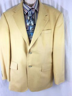 Oscar de la Renta Mens Sport Coat 42S Yellow Silk Wool 2 Button Lined Jacket EUC #OscardelaRenta #TwoButton