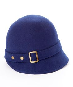 Loving this Jeanne Simmons Accessories Navy Buckle-Accent Wool Cloche on #zulily! #zulilyfinds