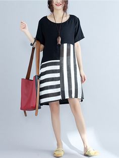 Casual Stripe Patchwork Short Sleeve O-neck Dress For Women