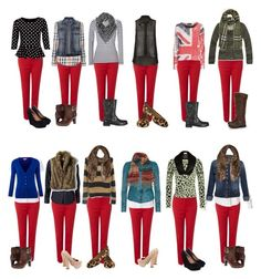 A fashion look from February 2013 featuring Miso tops, Religion Clothing sweaters and Moschino Cheap & Chic cardigans. Browse and shop related looks. Red Jeans Outfit, Jeans Outfit Winter, Legging Outfits, Casual Fall Outfits, Fall Winter Outfits, Maroon Pants Outfit, Blue Pants, White Pants, Leggings Vermelhas