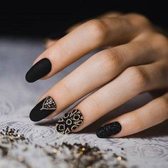 Black dress nails, Black nails with gold, Dating nails, Elegant nails, Embossed…
