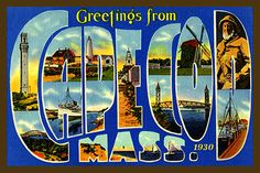Cape Cod Massachusetts Large Letter 3 - 1930 Postcard.  Printed on cotton.  Ready to sew.  Single 4x6 block $4.95.
