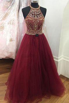 Crimson tulle beading O-neck A-line long dresses,handmade dresses