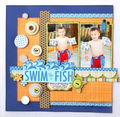 swim lesson layout. Love the navy blue and orange!