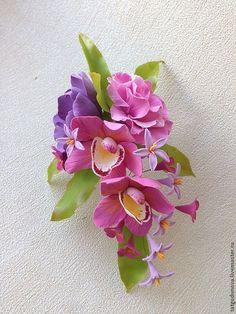 Купить Украшение для волос - фиолетовый, экзотические цветы, фото, фотосессия, фотосъемка, орхидея, орхидеи, тропики