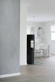 grey wall, concrete look with lime paint