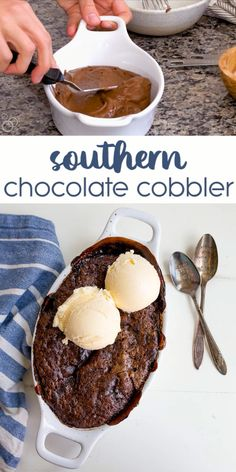 Southern Chocolate Cobbler for Two! Warm, gooey brownie in the center and chocolate cake on the outside. Southern Chocolate Cobbler for Two! Warm, gooey brownie in the center and chocolate cake on the outside. Like a brownie lava cake! Yummy Recipes, Mug Recipes, Sweet Recipes, Cooking Recipes, Cake Recipes, Pumpkin Recipes, Turkey Recipes, Small Desserts, Easy Desserts