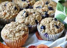 [Oatmeal Blueberry Applesauce Muffins] just made these, they are probably the best muffin I have every had (and pretty healthy as far as muffins go!) I used greek yogurt instead of buttermilk, and added a sugar/butter topping - delicious!