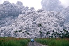 Must go faster! Volcanic pyroclastic flow, a fast-moving current of superheated gas (which can reach temperatures of about 1,000 °C (1,830 °F)) and rock (collectively known as tephra), which reaches speeds moving away from a volcano of up to 700 km/h (450 mph). Pyroclastic flows from Mt. Pinatubo in the Philippines June 17, 1991