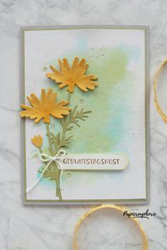 Eine schlichte Geburtstagskarte mit Aquarellhintergrund und den wunderschönen Stanzen Wiese von Stampin' Up! #geburtstagskarte #birthdaycards #frühling #aquarellhintergrund #wiesenstanzen #cleandandeasycards #diycards #crafting #astridspapiereuphorie #stampinup #stampinupösterreich #stampinupdemo #stampinupwien #kreativmitpapier #diy #handemadecards #cardmaking #paperlove #bastelnmachtspass #creative #diykarten #papierliebe Euphoria 2, Die Cut Cards, Stampin Up Cards, Wild Flowers, Creative, Champs, Frame, Inspiration, Design