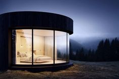 Designed and created by French architecture company Lumicene, LUMIPOD is a prefabricated housing module, like a real cocoon of simplicity. Architecture Company, French Architecture, Architecture Design, Amazing Architecture, Prefab Cabins, Prefabricated Houses, Prefab Homes, Eco Homes, Concrete Jungle
