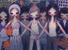 """AYA TAKANO  """"SPACE SHIP EE"""" 2002   Acrylic on canvas / Acrylique sur toile   9 1/2 x 13 1/4 inches / 24 x 33,5 cm"""