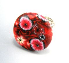 Floral Clay Round Button Ring Cranberry Red by TrinketsNWhatnots, $15.00