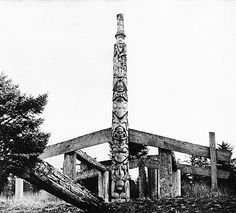 The remains of Goose House at Kayung village. The frontal pole, which illustrates the myth of the lazy son-in-law, is now in the British Museum. Photograph by Richard Maynard, 1884.