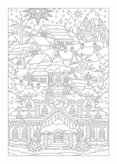 Winter scene colouring page Christmas Scenes, Christmas Colors, Christmas Crafts, Coloring Book Pages, Printable Coloring Pages, Christmas Coloring Sheets, Mandala Coloring, Christmas Pictures, Free Coloring