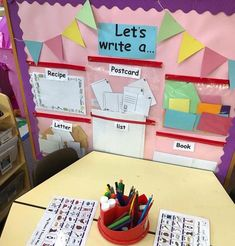New 'help yourself' writing display to encourage the children to write for a purpose in free flow! They are especially loving writing princess party invitations to post in their friends special boxes Eyfs Activities, Nursery Activities, Writing Activities, Literacy Display, Phonics Display, Literacy Centres, Writing Corner, Writing Area, Writing Table