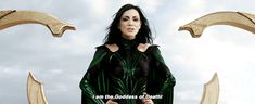 """""""It's come to my attention that you don't know who I am. I am Hela. Odin's firstborn. Commander of the legions of Asgard. The rightful heir to the throne and the Goddess of Death. My father is dead. As are the princes. You're welcome. We were once the seat of absolute power in the cosmos. Our supremacy was unchallenged. Yet Odin stopped at Nine Realms. Our destiny is to rule over all others. And I am here to restore that power. Kneel before me and rise into the ranks of my great conquest."""""""
