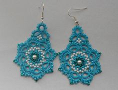 Blue earrings, tatted earrings, tatting jewellery, turquoise summer earrings, gift ideas