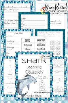 Tweens will enjoy learning about the fascinating creatures of the deep using this Middle School Shark Learning Collection!  #SharkWeek #SharkUnit #SharkStudy #SharkUnitStudy #Homeschool #Homeschooling #UnitStudy #YearRoundHomeschooling #Printable Vocabulary Activities, Educational Activities, Free Homeschool Curriculum, Homeschooling, Middle School, Back To School, Spelling Practice, Writing Exercises, College Years