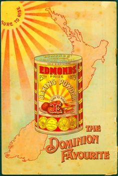 The Edmonds cookery book has sold over 3 million copies since it was first published in making it the best-selling New Zealand book by far. Vintage Advertisements, Vintage Ads, Vintage Ephemera, New Zealand Art, Vintage Baking, Tourism Poster, Butterfly Wall Art, History Online, Aussies