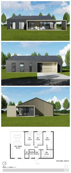 modern 110 m2 house designed by NG architects Bungalow House Plans, Modern Bungalow, Small House Plans, Best Small House Designs, Modern Small House Design, Warren House, Build Your Own House, Modern Architecture, House Styles