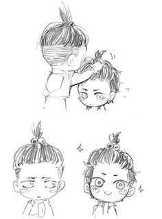Anime/manga: SNK Characters: Levi and Eren, LOL love the chibi hair styles.