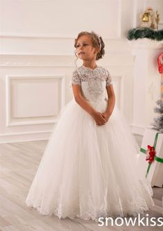 2016 White/Ivory short sleeve sheer Lace Beading communion Flower Girl Dress for Birthday wedding occasion toddler Ball Gown