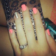 Hot coral & glitter shellac nails