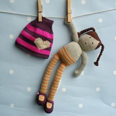Issy  Hand Knitted Doll by boobiloo on Etsy