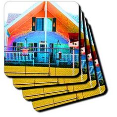 The front porch of a cabin done in bright neon colors Coaster